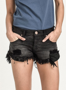 One Teaspoon Cutoff Shorts Black Panther Brandos