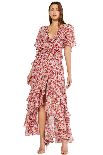 MISA Los Angeles Katarina Dress Rust Animal Floral
