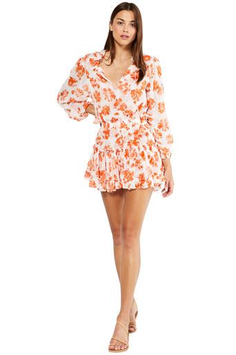 MISA Los Angeles Lorena Dress Orange Tie Dye