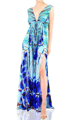 Shahida Parides Aqua Print Long Dress