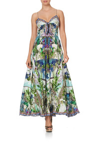 Camilla Long Dress with Tie Front Moon Garden