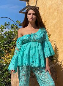 Antica Sartoria Positano Blouse J171 Turquoise