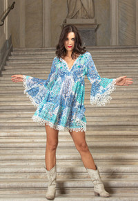 Antica Sartoria Positano Lace Dress C067 Turquoise