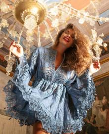 Antica Sartoria Positano Short Dress P095 Blue