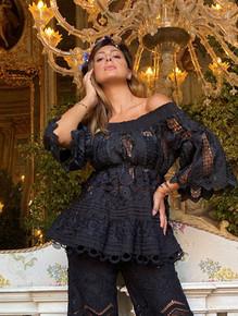 Antica Sartoria Positano Off the Shoulders Dress W003 Black