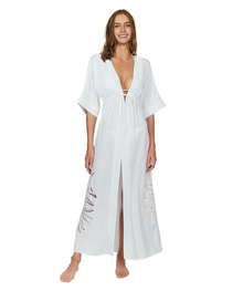 Vix Swimwear Embroidery Pamela Caftan Off White
