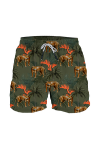 Steam Men's Swim Trunk Leopard Forest Green