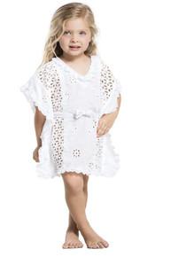 Agua Bendita Girls Natural Eyelet Tunic White