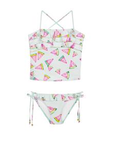 PilyQ Girls Swimsuit Fresca Embroidered Ruffle Tankini