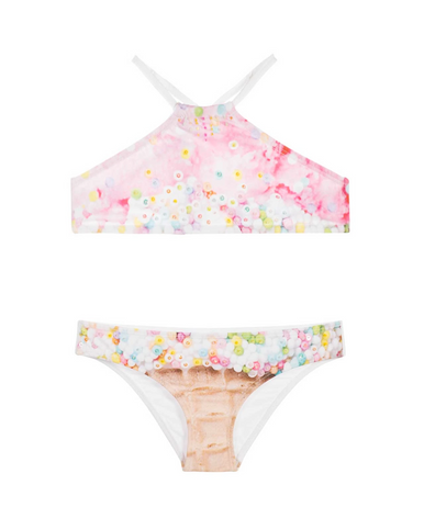 PilyQ Girls Ice Cream Embroidered High Neck Bikini Set