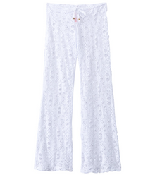 PilyQ Girls Lace Cover-Up Stretch Pant White