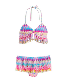 PilyQ Girls Moorea Fringe SKirt Bikini Set