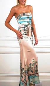 Trisha Paterson Silk Stretch Japanese Garden Strapless Dress
