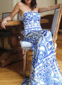 Trisha Paterson Silk Stretch Blue China Strapless Dress
