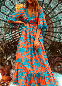 Antica Sartoria Positano Maxi Dress AS29 Turquoise