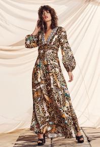 Camilla Printed Lantern Long Sleeve Dress Fauna Electro