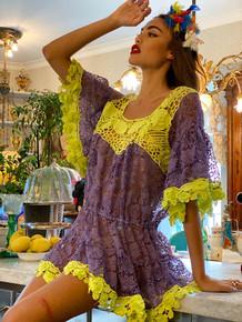 Antica Sartoria Lace Mini Dress AS97 Lavender Neon