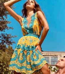 Antica Sartoria Positano Lace Dress AS64 Yellow