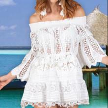 Antica Sartoria AS109 Eyelet Off Shoulder Tunic Dress White