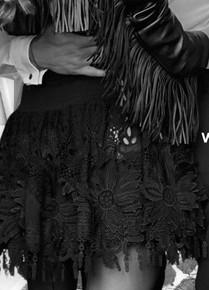 Antica Sartoria AS102 Skirt with Flower Applique Black