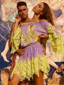 Antica Sartoria AS118 Off Shoulder Short Dress Lavender