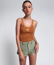 One Teaspoon Mid Waist Shorts Le Loop Super Khaki