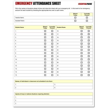 classroom attendance sheet