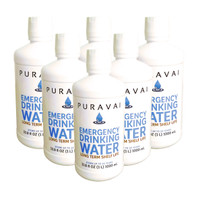 Puravai Emergency Drinking Water 1 Liter 6-Pack - 20 Year Shelf Life