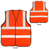 Premium Orange Safety Vest - Front and Back