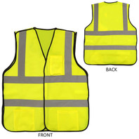 Premium Yellow Safety Vest - Front and Back