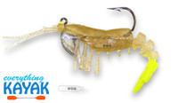 """Vudu Shrimp 3.25"""" - Clear Gold Flake/ Chartreuse Tail   Everything Kayak"""