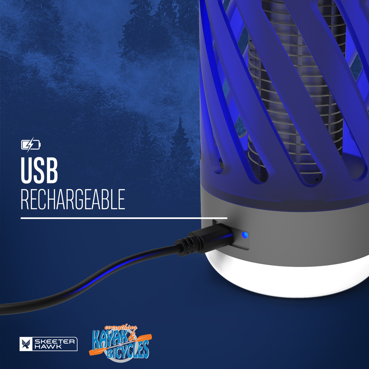 Rechargeable Personal Mosquito Zapper with LED Lantern