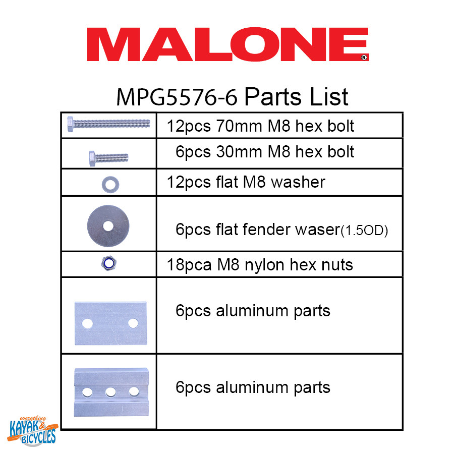 Malone Hobie cradle adapters   pack list