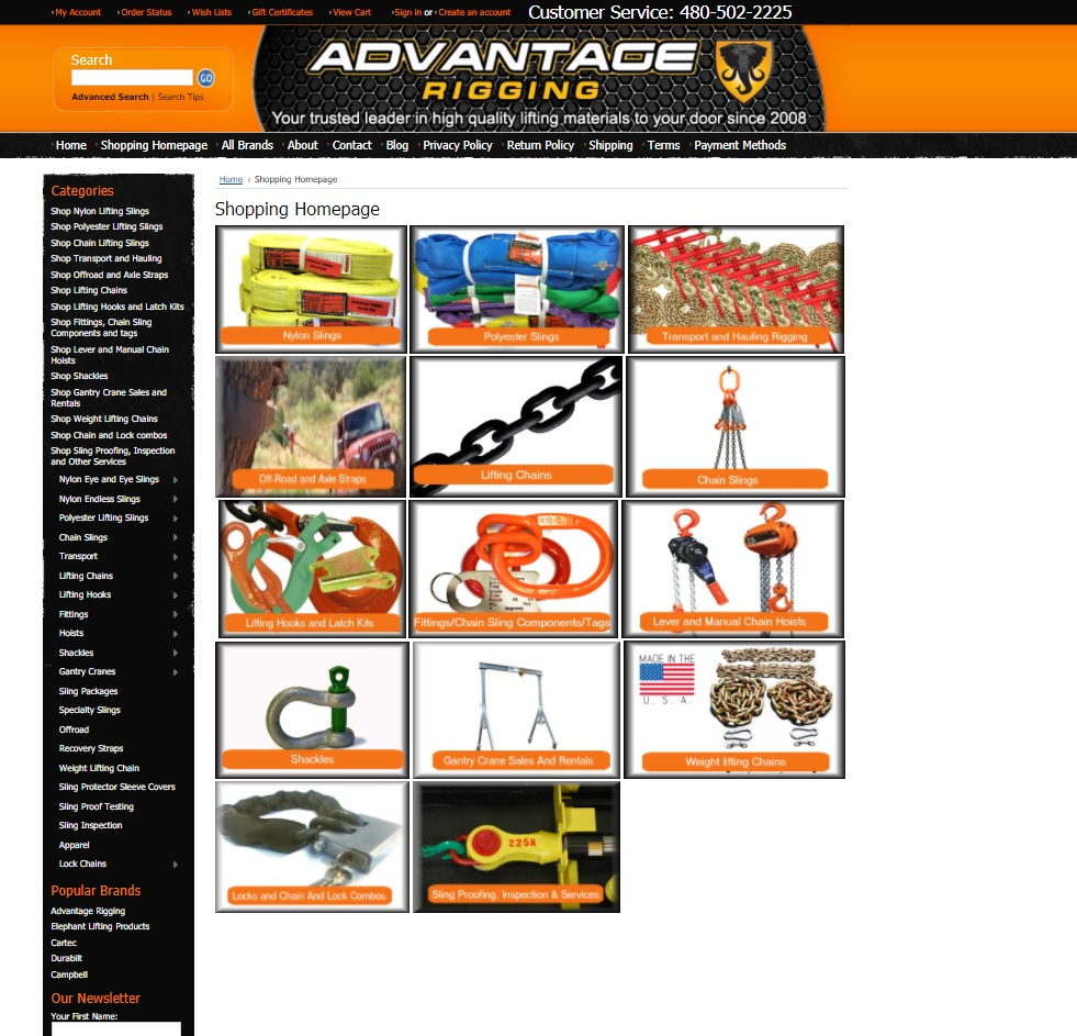 Advantage Rigging Shopping Homepage