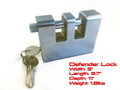 "Defender Security Lock with keys 3""w x 3.7""l x 1.1""d 1.8lbs"