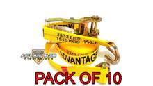 """10 Pack - Heavy Duty Ratchet Strap Tiedown 27' X 2"""" with Wire J Hooks 10k Break Strength"""