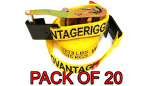 "20 Pack - Heavy Duty Ratchet Strap Tiedown 27' X 2"" with Flat J Hooks 10k Break Strength"
