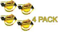 "4 Pack - Transport Durabilt Ratchet Strap - Flat J Hook - 27' Foot Length 2"" Width"