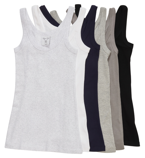 The Undershirt selection from left to right: Gray matter melange, white primer, dark blue, sterling gray melange, driftwood, and pitch-black.