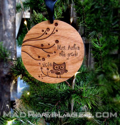 Owl or Teacher Custom Christmas Ornament