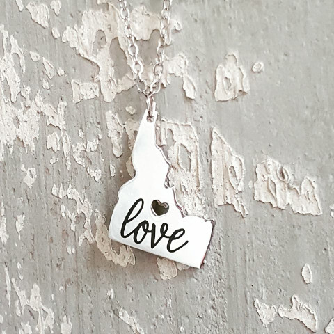 front side engraving of idaho love necklace