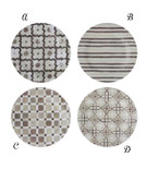 """10-1/2"""" ROUND MELAMINE PATTERNED PLATE, NATURAL/WHITE, 4 STYLES"""