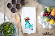 Idaho Watercolor Flour Sack Dish Towel