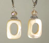 Mother-of-pearl rectangular cutout earrings