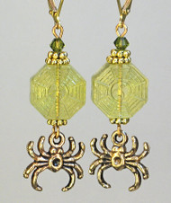 Glass Olive Spider Web Earrings
