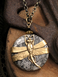 Dragonfly Over Craters of the Moon Stone Pendant