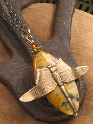 And The Dragonfly Landed II— Jasper Necklace
