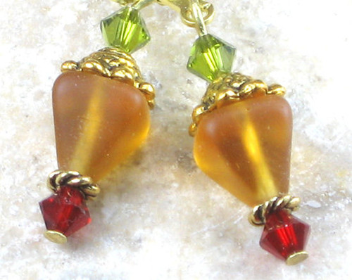 Amber Pyramid Glass Earrings