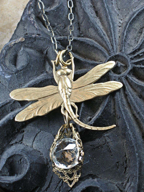 Clear Glass Gem and Dragonfly Pendant Necklace