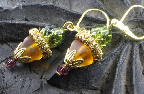 Olive Amber Glass Filigree Earrings